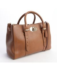 Mulberry Oak Brown Leather Bayswater Zip Tote - Lyst