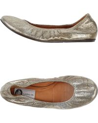 Lanvin Gold Ballet Flats - Lyst