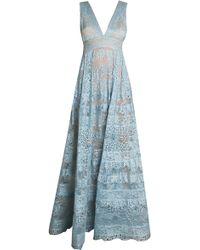 Elie Saab Blue Halter Gown - Lyst