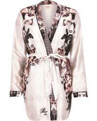 River Island - Beige Floral Print Robe Light Pink Print Pyjama Bottoms Light Pink Print Cami Pyjama Top - Lyst