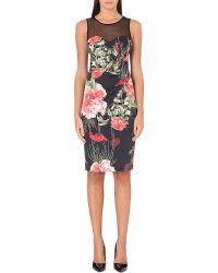 Karen Millen Roseprint Dress Blackmulti - Lyst