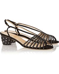 Charlotte Olympia Spike Crystal-embellished Suede Sandals - Lyst