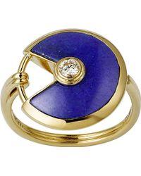 Cartier Amulette De 18Ct Yellow Gold, Lapis Lazuli And Diamond Ring gold - Lyst
