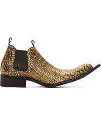 Comme des Garçons - Gold Embossed Leather Winklepickers - Lyst