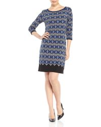 Max Studio Blue & Black Printed Shift Dress - Lyst