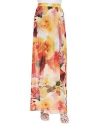 Alice + Olivia Leah Long Floral-print Wrap Skirt - Lyst