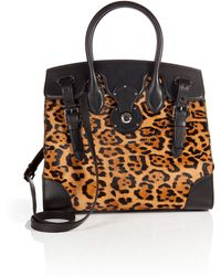 Ralph Lauren Collection Animal Print Haircalf Tote - Lyst
