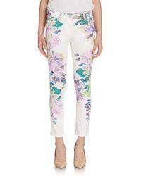 Roberto Cavalli Floral Printed Denim Jeans - Lyst