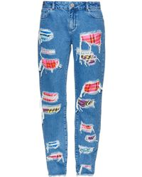 House of Holland - Distressed Patchwork Jeans - Lyst