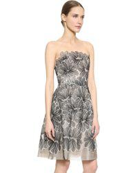 Lela Rose Strapless Lace Dress - Blackivory - Lyst