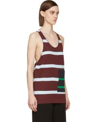 Stella McCartney Burgundy Alternating Stripe Pocket Tank Top - Lyst