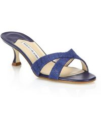 Manolo Blahnik   Callamu Tweed Slide Sandals   Lyst