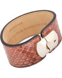 Balenciaga Python Padlock Bracelet - Lyst