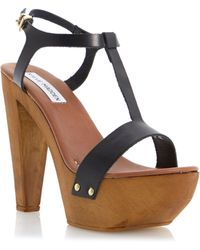 Steve Madden Ownit Leather Block Heel Buckle Sandals - Lyst