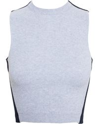 Proenza Schouler Cropped Denim Top With Knit Insert - Lyst