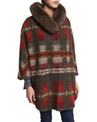 Sofia Cashmere | 3/4-sleeve Woven Cape With Fur Collar | Lyst