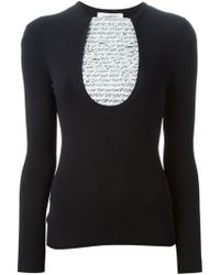 Valentino Lace Panel Sweater - Lyst