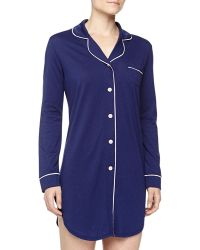 Cosabella Bella Long-sleeve Satin-trim Sleepshirt - Lyst