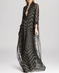 Halston Heritage  Chevron Stitch Detail Caftan Gown  - Lyst