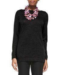 Eileen Fisher Merino Wool Long-sleeve Top - Lyst