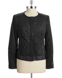 Jones New York Faux Suede Leather Jacket - Lyst