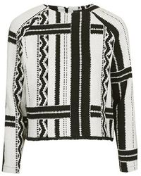Topshop Monochrome Tribal Sweatshirt black - Lyst