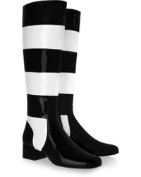 Saint Laurent Striped Patentleather Knee Boots - Lyst