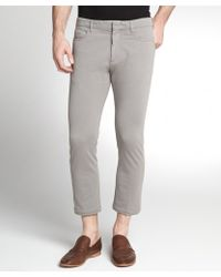 Prada Taupe Cotton Twill Flat Front Cropped Pants - Lyst