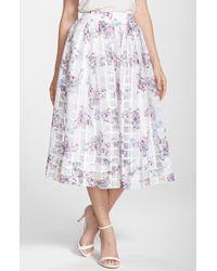 ERIN Erin Fetherston | 'Pipa' Floral Organza Midi Skirt | Lyst