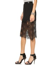 Shakuhachi - Honey Comb Lace Midi Skirt Black - Lyst