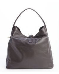 Gucci Dark Cocoa Leather Hip Bamboo Shoulder Bag - Lyst