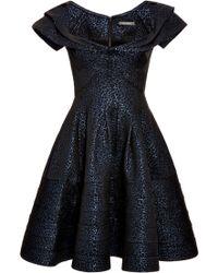 Zac Posen Metallic Jacquard Dress - Lyst