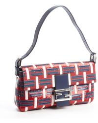 Fendi Navy Leather Multicolor Sequin Accent Mini Baguette Shoulder Bag - Lyst