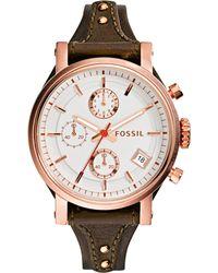 Fossil Women'S Chronograph Original Boyfriend Brown Raisin Leather Strap Watch 38Mm Es3616 - Lyst