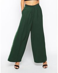 Asos Premium Wide Leg Pant In Satin Back Crepe And Contrast Side Panel - Lyst