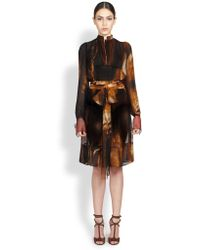 Givenchy Silk Flame Print Dress - Lyst