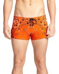 Versace Bandana Print Swim Trunks - Lyst