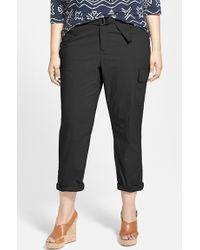 DKNY Belted Poplin Cargo Pants - Lyst