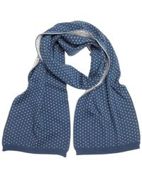 Gucci Blue and White Cotton Pattern Printed Scarf - Lyst