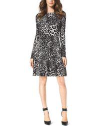Michael Kors Leopard-Print Cotton-Blend Sweater Dress - Lyst