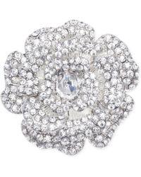 Jones New York Silver-Tone Crystal Open Flower Pin - Lyst