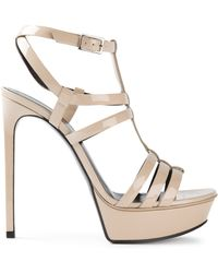 Saint Laurent Beige Platform Sandals - Lyst