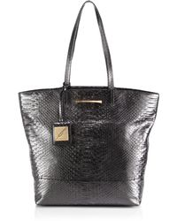 B Brian Atwood Metallic Snakeembossed Liv Tote - Lyst
