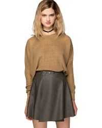 Pixie Market Rumi Khaki Knit Sweater - Lyst