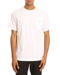 Obey Bar Logo White Pocket Tshirt - Lyst