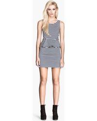 H&M Blue Peplum Dress - Lyst