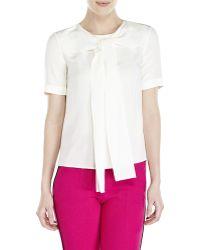 Sonia Rykiel Ivory Tie Front Silk Blouse - Lyst