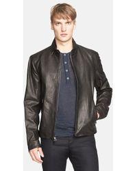 John Varvatos Leather Cafe Moto Jacket - Lyst