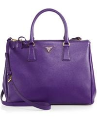 Prada Saffiano Medium Double Zip Tophandle Bag - Lyst
