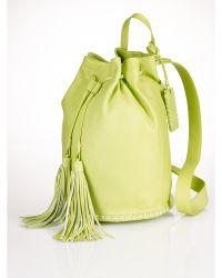 Ralph Lauren Green Fringed-Drawstring Backpack - Lyst